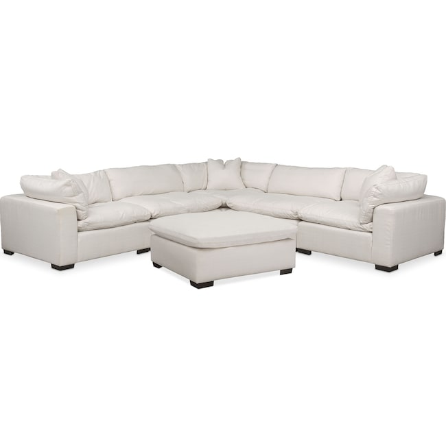 Living Room Furniture - Plush 6-Piece Sectional - Ivory