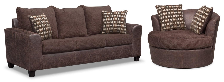 Living Room Furniture - Brando Sofa and Swivel Chair Set - Chocolate