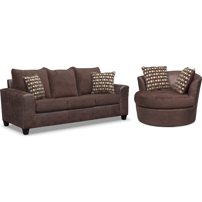 Living Room Furniture - Brando Queen Innerspring Sleeper Sofa and Swivel Chair Set - Chocolate