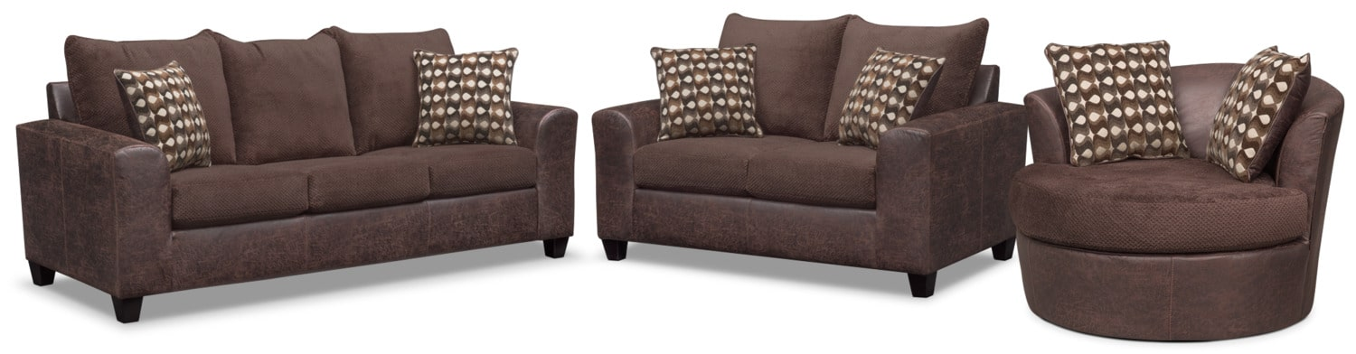 Brando Sofa, Loveseat and Swivel Chair Set - Chocolate