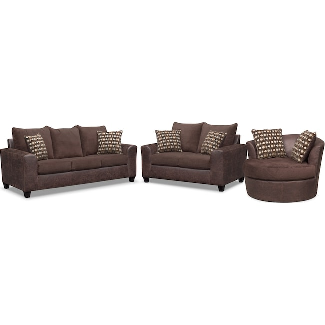 Living Room Furniture - Brando Queen Memory Foam Sleeper Sofa, Loveseat and Swivel Chair Set - Chocolate