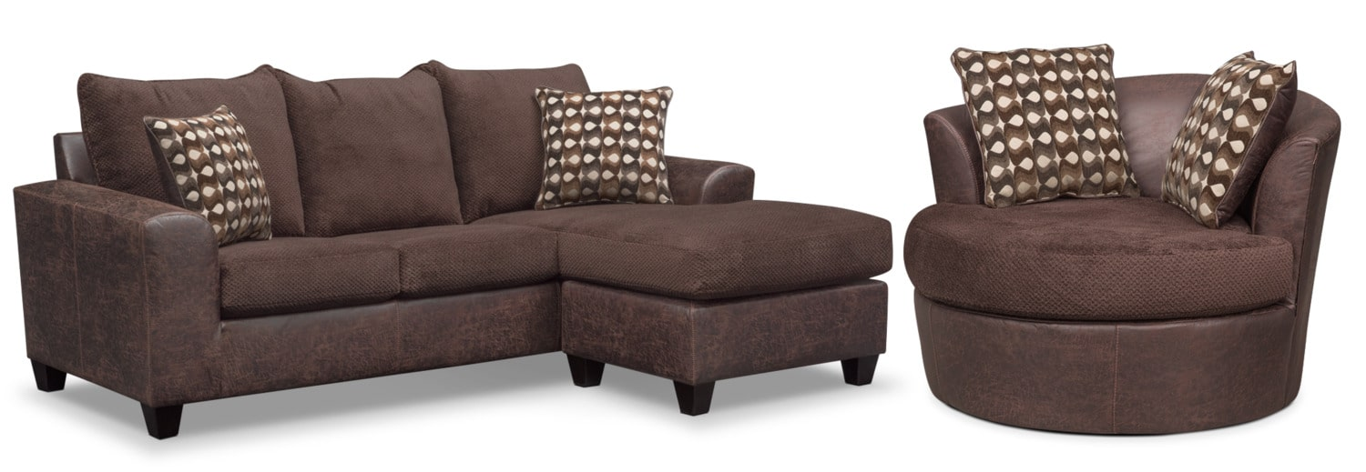 Brando Sofa with Chaise and Swivel Chair Set - Chocolate