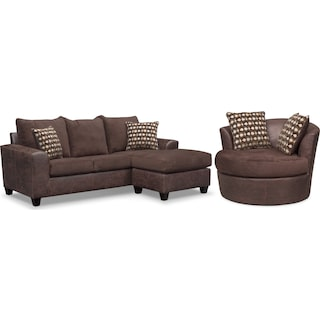 Brando Queen Memory Foam Sleeper Sofa with Chaise and Swivel Chair Set - Chocolate