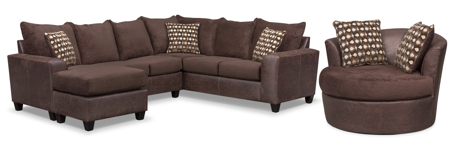 Beau Brando 3 Piece Sectional With Left Facing Chaise And Swivel Chair Set    Chocolate