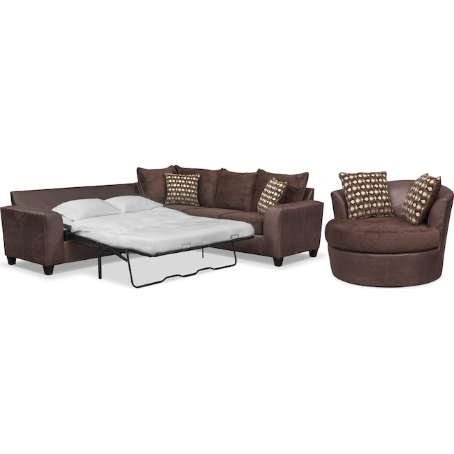 Living Room Furniture - Brando 2-Piece Memory Foam Sleeper Sectional and Swivel Chair Set - Chocolate