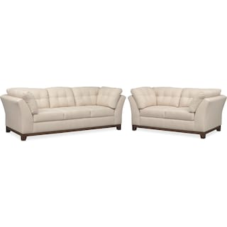 Sebring Sofa and Loveseat Set - Oyster