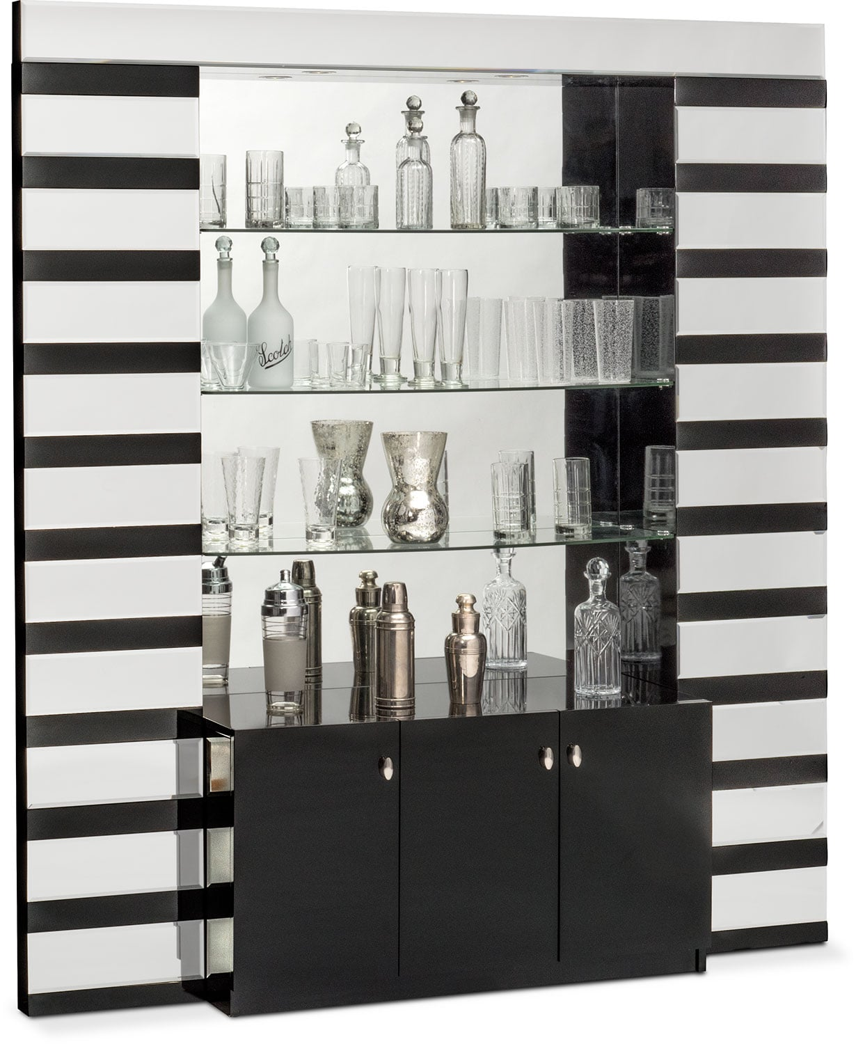 $999.99 Spectra Wall Bar   Black And Mirror