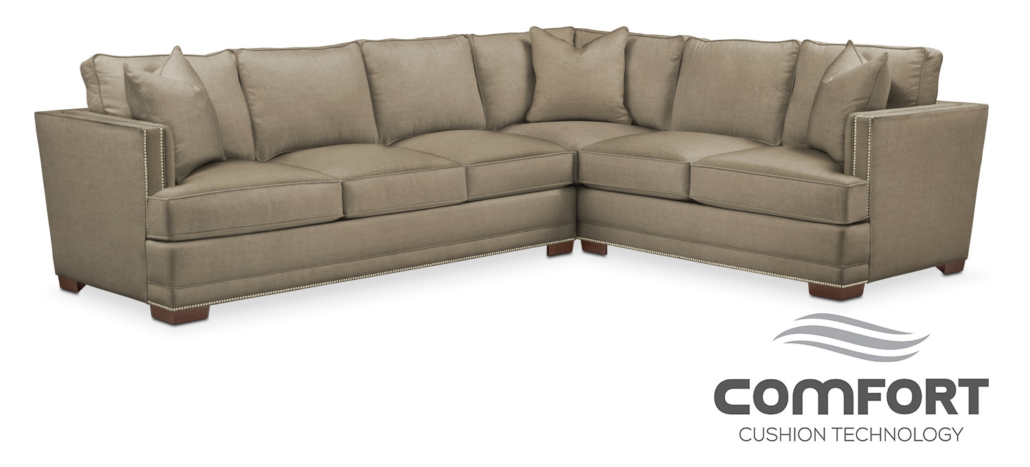 Arden comfort 2 piece sectional with left facing sofa for Comfort living furniture