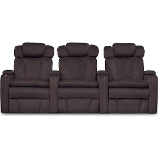 Fiero 3-Piece Dual-Power Reclining Home Theater Sectional - Godiva