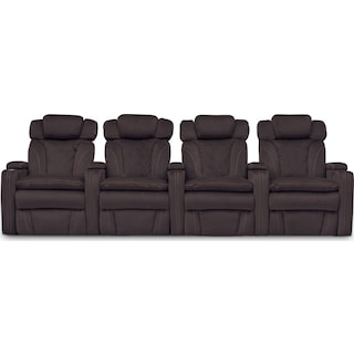 Fiero 4-Piece Power Reclining Home Theater Sectional - Godiva