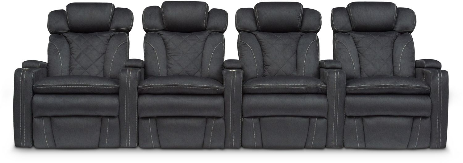 Fiero 4-Piece Power Reclining Home Theater Sectional - Charcoal