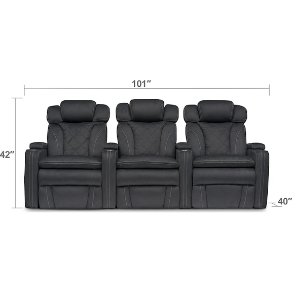 Living Room Furniture - Fiero 3-Piece Dual-Power Reclining Home Theater Sectional