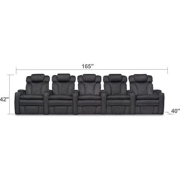 Living Room Furniture - Fiero 5-Piece Dual-Power Reclining Sectional