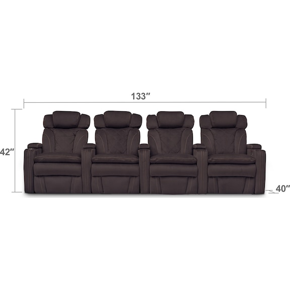 Living Room Furniture - Fiero 4-Piece Dual-Power Reclining Home Theater Sectional