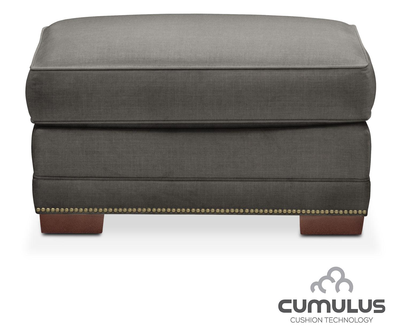 Living Room Furniture - Arden Cumulus Ottoman - Sterling