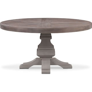 Lancaster Round Wood Top Table - Parchment with Water White Base