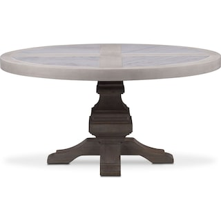 Lancaster Round Marble Top Table - Water White with Parchment Base