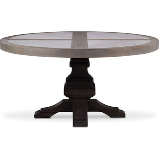 Lancaster Round Marble Top Table -  Parchment with Truffle Base