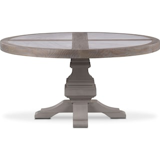 Lancaster Round Marble Top Table - Parchment with Water White Base