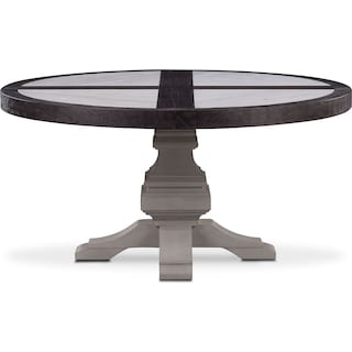 Lancaster Round Marble Top Table - Truffle with Water White Base