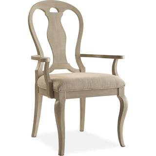 Lancaster Queen Anne Arm Chair - Water White