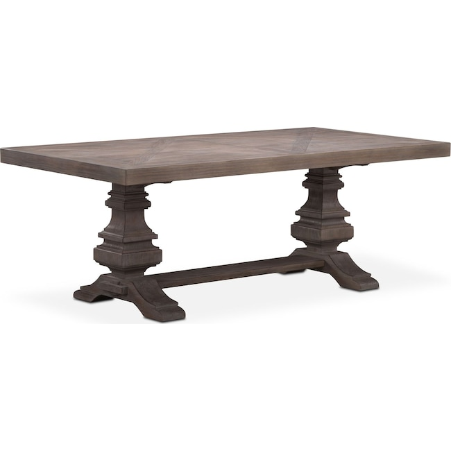 "Dining Room Furniture - Lancaster 82"" Wood Top Table with Urn Base - Parchment"