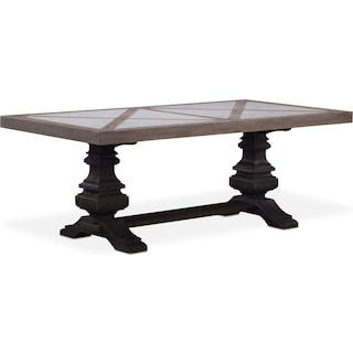"Lancaster 82"" Marble Top Table - Parchment with Truffle Urn Base"