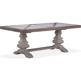 "Lancaster 82"" Marble Top Table - Parchment with Water White Urn Base"