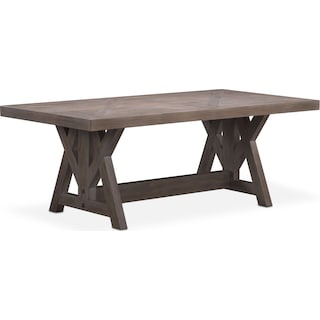 "Lancaster 82"" Wood Top Table with Farmhouse Base - Parchment"