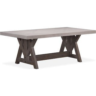 "Lancaster 82"" Wood Top Table - Water White with Parchment Farmhouse Base"