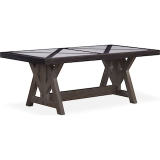 "Lancaster 82"" Marble Top Table - Truffle with Parchment Farmhouse Base"