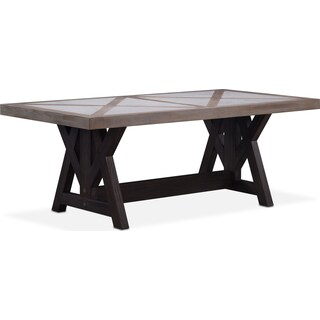 "Lancaster 82"" Marble Top Table - Parchment with Truffle Farmhouse Base"