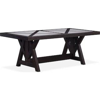 "Lancaster 82"" Marble Top Table with Farmhouse Base - Truffle"