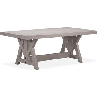 "Lancaster 82"" Wood Top Table with Farmhouse Base - Water White"