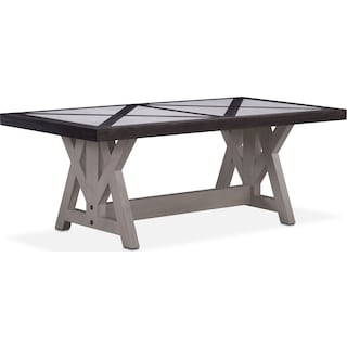 "Lancaster 82"" Marble Top Table - Truffle with Water White Farmhouse Base"