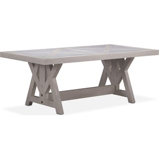 "Lancaster 82"" Marble Top Table with Farmhouse Base - Water White"