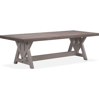 "Lancaster 120"" Wood Top Table - Parchment with Water White Farmhouse Base"