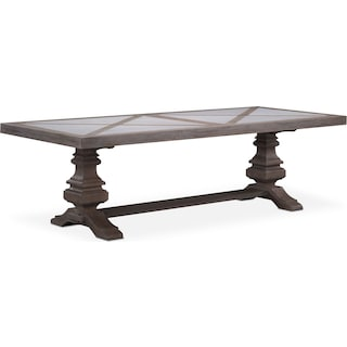 "Lancaster 102"" Marble Top Table with Urn Base - Parchment"