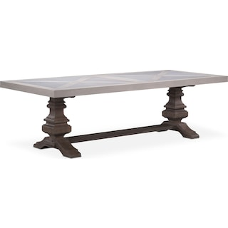 "Lancaster 102"" Marble Top Table - Water White with Parchment Urn Base"