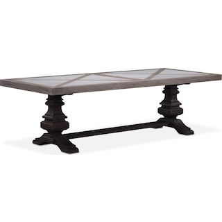"Lancaster 102"" Marble Top Table - Parchment with Truffle Urn Base"
