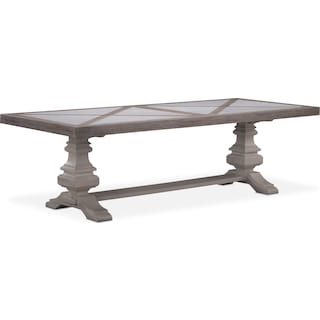 "Lancaster 104"" Marble Top Table - Parchment with Water White Urn Base"