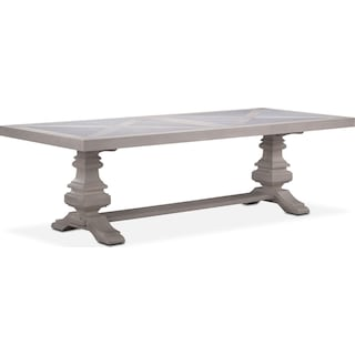 "Lancaster 104"" Marble Top Table with Urn Base - Water White"