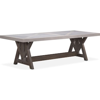 "Lancaster 102"" Marble Top Table - Water White with Parchment Farmhouse Base"