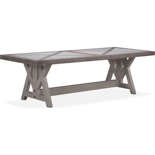 "Lancaster 104"" Marble Top Table - Parchment with Water White Farmhouse Base"