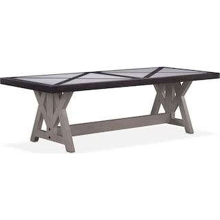 "Lancaster 104"" Marble Top Table - Truffle with Water White Farmhouse Base"