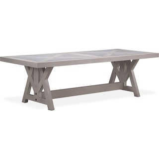 "Lancaster 102"" Marble Top Table with Farmhouse Base - Water White"