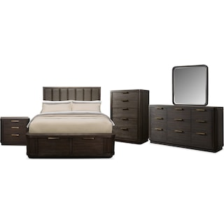 The Malibu Low Upholstered Storage Bedroom Collection - Umber