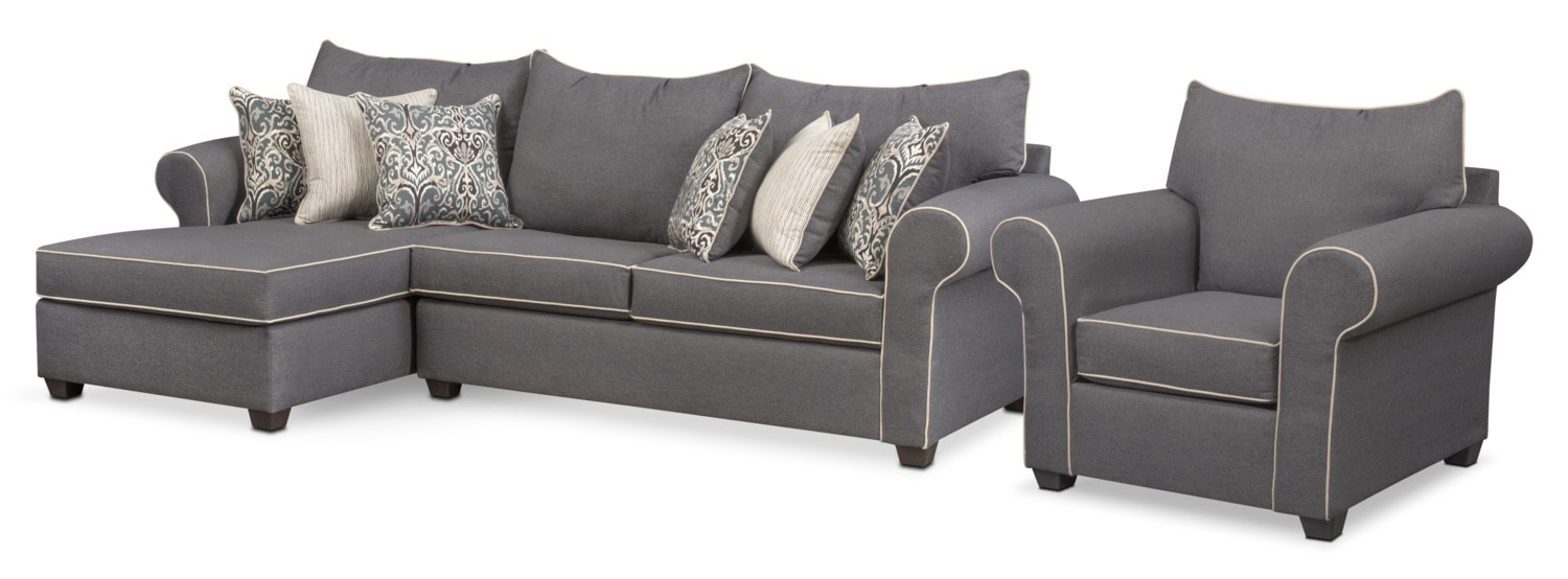 Carla 2-Piece Sectional and Chair Set - Gray