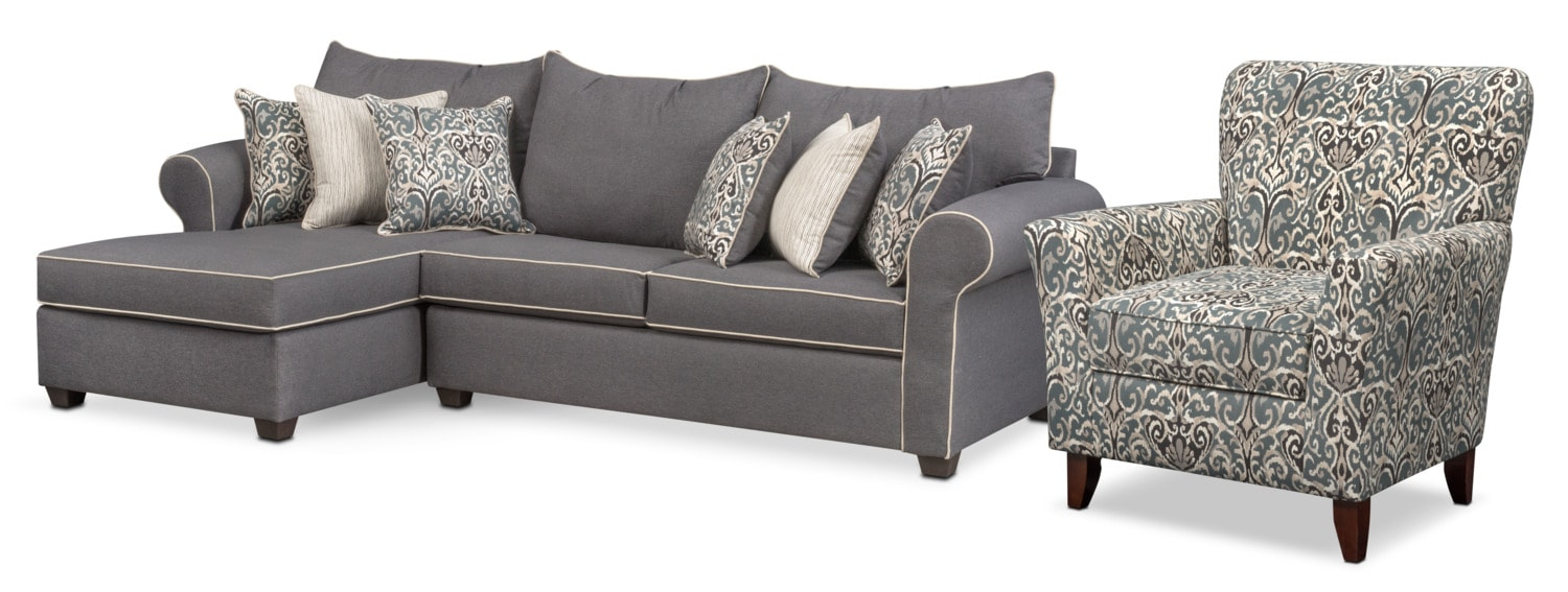 Carla 2-Piece Sectional and Accent Chair Set - Gray