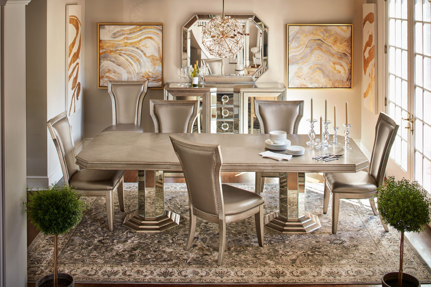 Angelina Double Pedestal Table And 6 Side Chairs Metallic American Signat